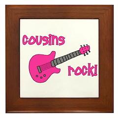Cousins Rock! pink guitar Framed Tile