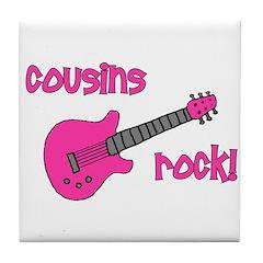 Cousins Rock! pink guitar Tile Coaster