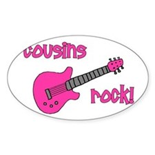 Cousins Rock! pink guitar Oval Decal