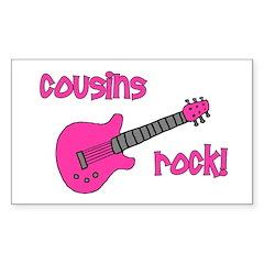Cousins Rock! pink guitar Rectangle Decal