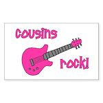 Cousins Rock! pink guitar Rectangle Sticker