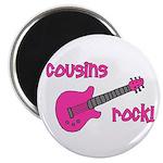 Cousins Rock! pink guitar Magnet
