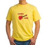 Cousins Rock! pink guitar Yellow T-Shirt