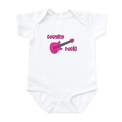 Cousins Rock! pink guitar Infant Bodysuit