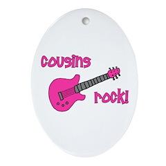 Cousins Rock! pink guitar Oval Ornament