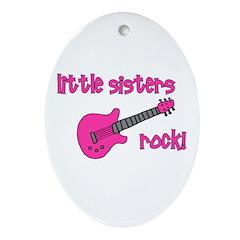 Little Sisters Rock! pink gui Oval Ornament