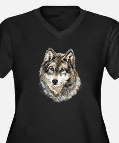 Watercolor Grey Gray Wolf Animal Plus Size T-Shirt