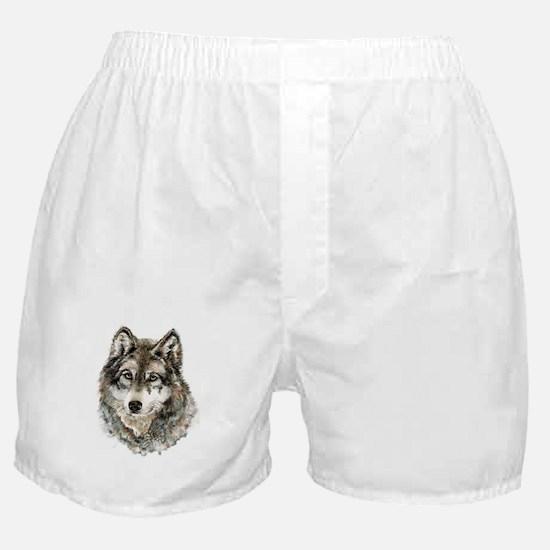 Watercolor Grey Gray Wolf Animal Natu Boxer Shorts