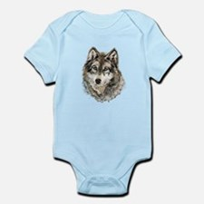 Watercolor Grey Gray Wolf Animal Nature Body Suit