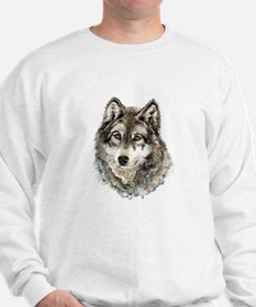 Watercolor Grey Gray Wolf Animal Nature Sweater