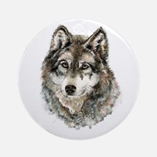 Watercolor Grey Gray Wolf Animal Na Round Ornament