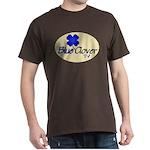 Blue Clover Tv Logo On Cream Oval - Dark T-Shirt