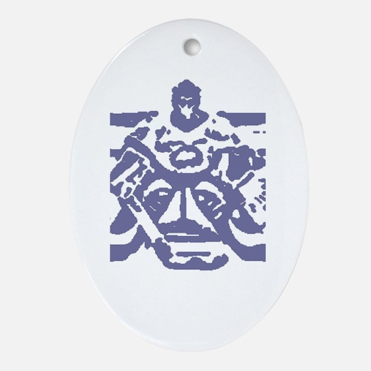 Hockey goalie colored Oval Ornament