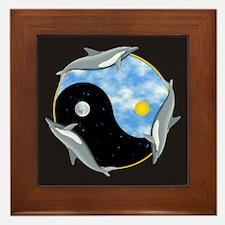 Yin Yang Dolphin Framed Tile
