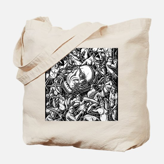 Michel Foucault head carried through crow Tote Bag