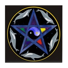 Yin Yang Dolphin Pentagram Bl Tile Coaster