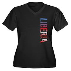 Liberia Stamp Women's Plus Size V-Neck Dark T-Shir