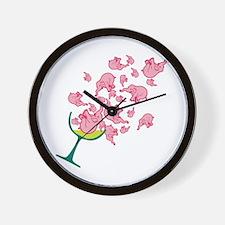 Glass of Pink Elephants Wall Clock