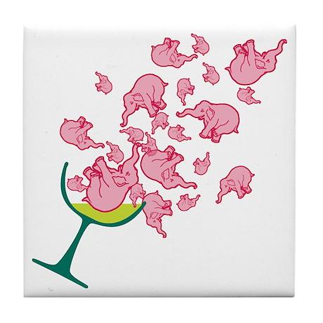 Glass of Pink Elephants Tile Coaster