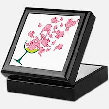 Glass of Pink Elephants Keepsake Box