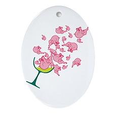 Glass of Pink Elephants Oval Ornament