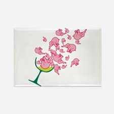 Glass of Pink Elephants Rectangle Magnet