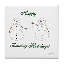 Fencing Holiday Tile Coaster