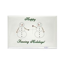 Fencing Holiday Rectangle Magnet (10 pack)