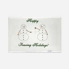 Fencing Holiday Rectangle Magnet