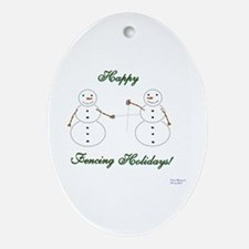 Fencing Holiday Oval Ornament