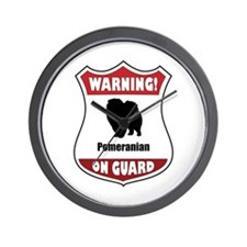 Pomeranian On Guard Wall Clock