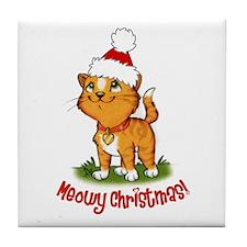 Meowy Christmas Tile Coaster