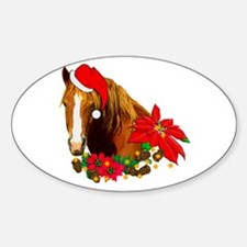 Christmas Horse Oval Decal