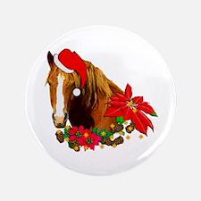 """Christmas Horse 3.5"""" Button"""