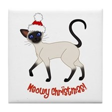 Christmas Siamese Tile Coaster