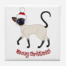 Christmas Siamese Tile Coaster