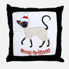 Christmas Siamese Throw Pillow