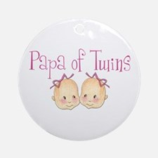 Papa of Girl Twins Ornament (Round)