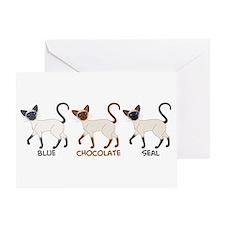 Three Siamese Cats Greeting Card