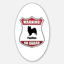 Papillon On Guard Oval Decal