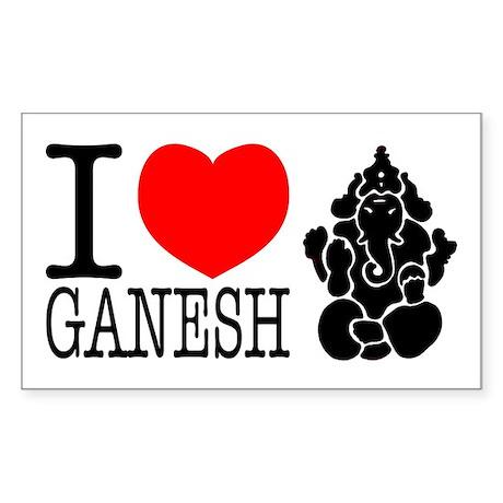 I Love Ganesh Rectangle Sticker