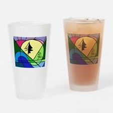 Cyclist in Hills Abstract Drinking Glass