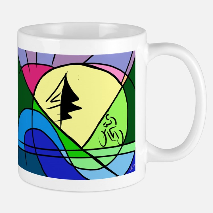 Cyclist in Hills Abstract Mugs