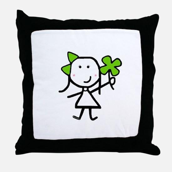 Girl & Clover Throw Pillow