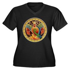 Celtic Phoenix Women's Plus Size V-Neck Dark T-Shi