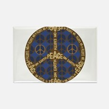 Blue Peace On Earth Vintage Rectangle Magnet