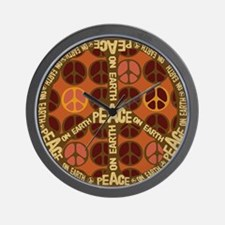 Brown Peace On Earth Vintage Wall Clock