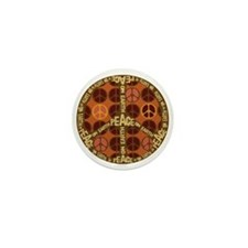 Brown Peace On Earth Vintage Mini Button