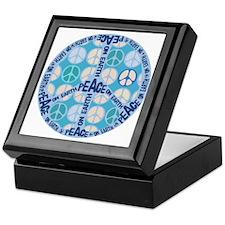 Aqua Peace On Earth Sign Keepsake Box