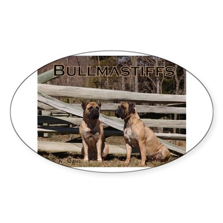 Bullmastiffs-Two Sitting Oval Sticker